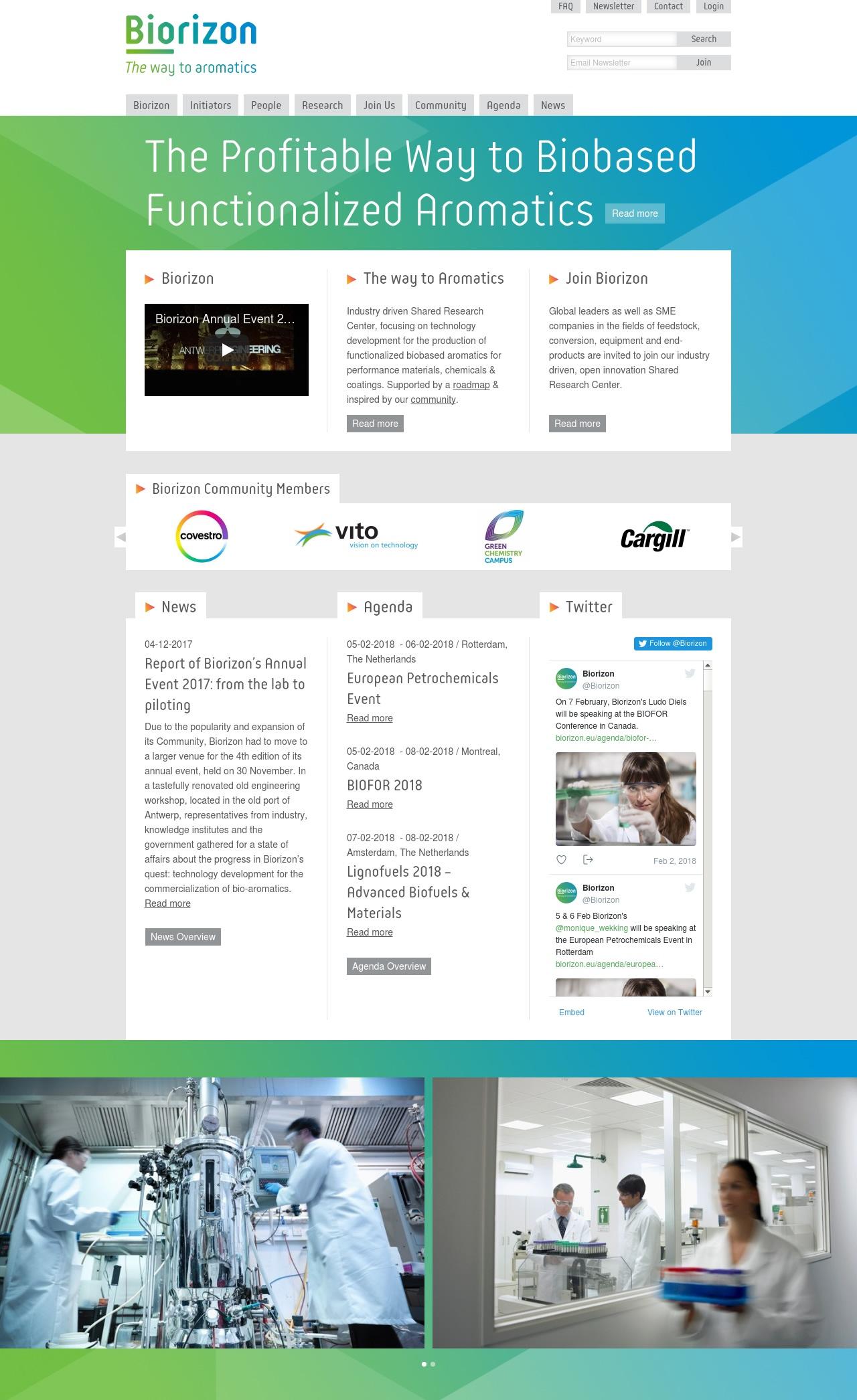 Biorizon homepage met slider en gallery