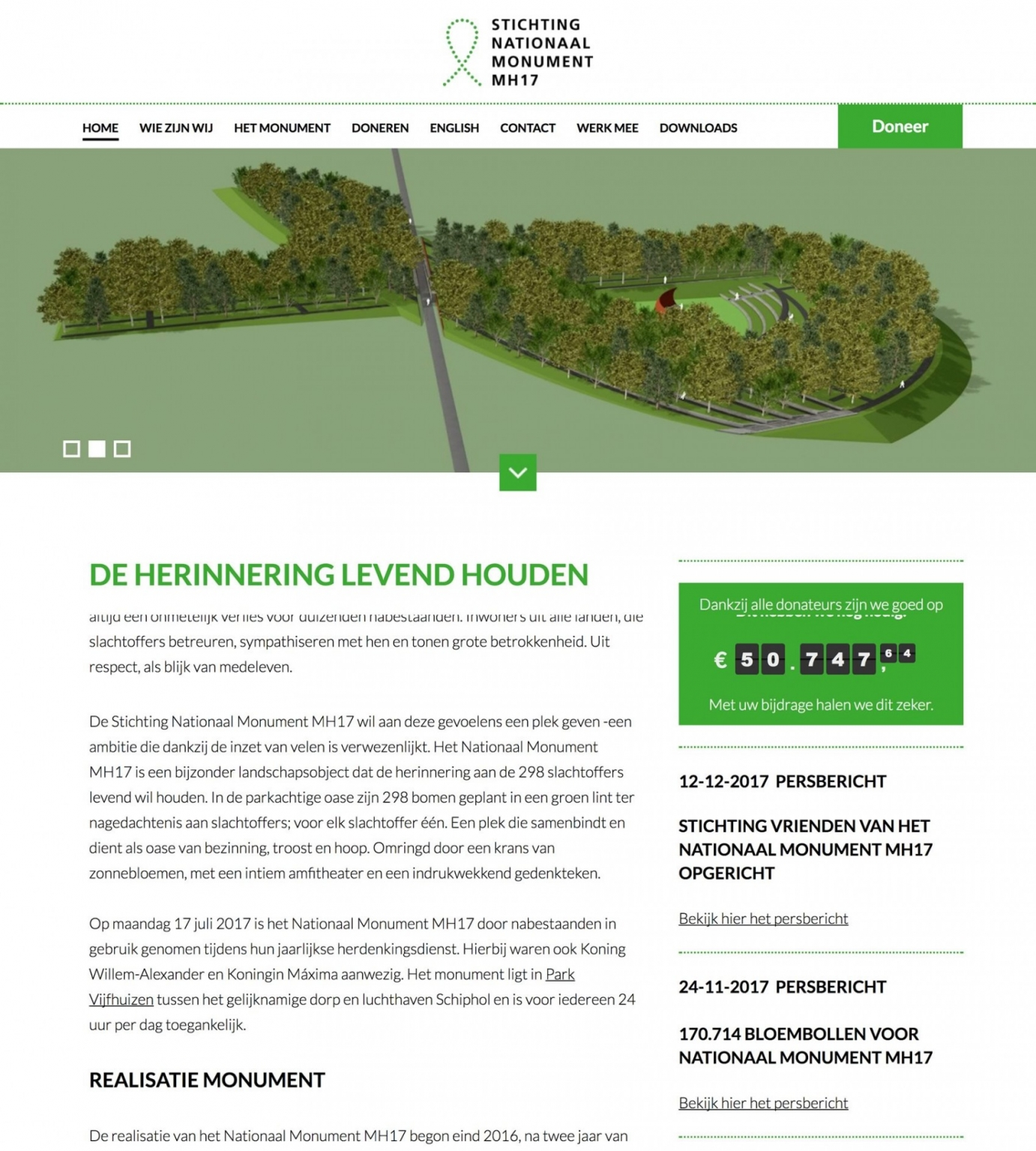 Monument MH17 homepage