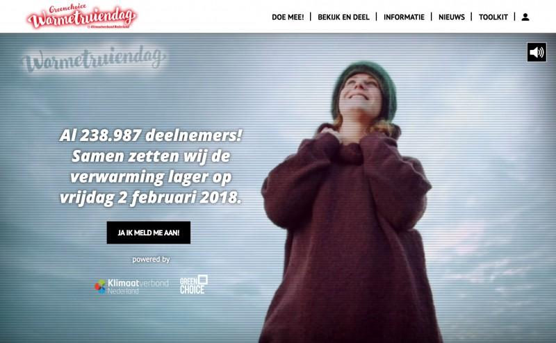 Warmetruiendag homepage met video
